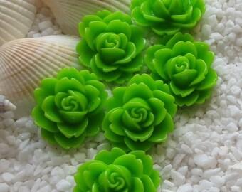 Resin Flower Cabochon - 18mm  x 16mm - 12 pcs - Green