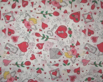 Valentine hearts letters roses angels on white 1 yard