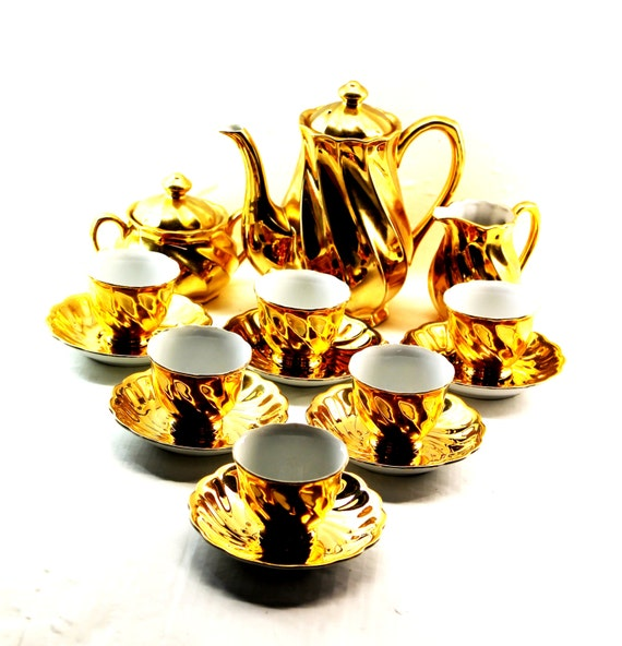Gold Plated Coffee Set Gold Plated Ceramic Coffee Set