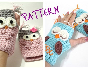 Crochet Pattern, Gloves Pattern, Owl Gloves Pattern, Tutorial, Crochet Tutorial, Owl Gloves, INSTANT DOWNLOAD