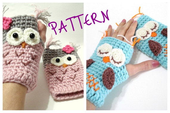 ... Owl Gloves Pattern, Tutorial, Crochet Tutorial, Owl Gloves, INSTANT