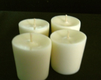 One Dozen Natural, No Dye, Unscented Soy Votive Candles