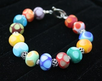 Multi-Color Rainbow Lampwork Beaded Bracelet Sterling Toggle and Accent Beads