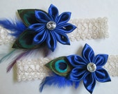 Royal Blue Wedding Garter Set, Peacock Garters, Ivory Bridal Lace Garter, Sapphire Blue Garter, Something Blue, Rustic- Country Bride