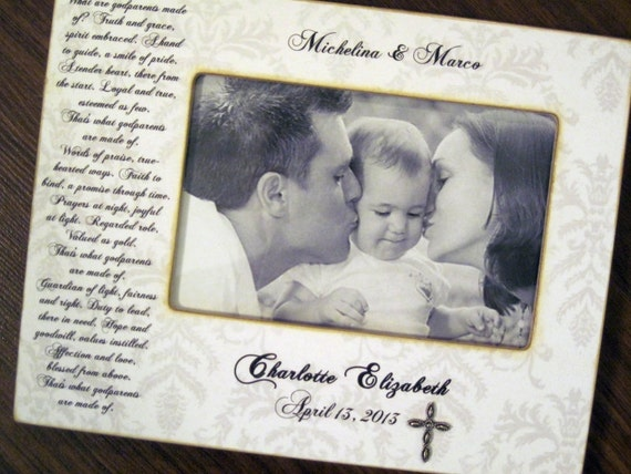 items similar to personalized picture frame godparent godchild 4x6 frame with plated cross on etsy