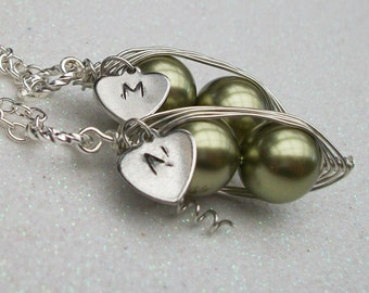 Best Friends, Sisters or Twins Peas in a Pod with Personalized Heart Silver Pendant Necklace You Choose the Initial