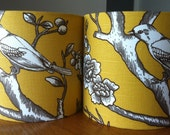 Pair of bedside table lamp shades made with Dwell studios vintage blossom citrine  fabric - Stealthelimelight