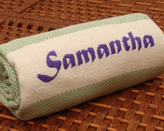 Personalized HandWoven Turkish Towel GREEN Diamond COTTON PESHTEMAL - Monogrammed Embroidered