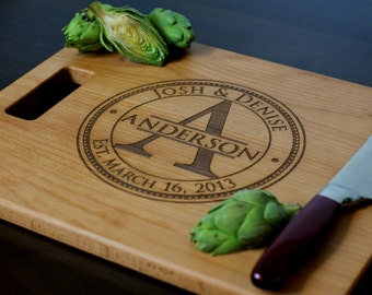 """Personalized Cutting Board, Custom Engraved - 12x15"""" or 12x18"""" - Wedding Gift, Anniversary Gift, Housewarming Gift"""