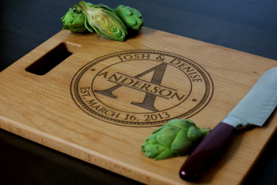 "Personalized Cutting Board, Custom Engraved - 12x15"" or 12x18"" - Wedding Gift, Anniversary Gift, Housewarming Gift"