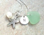 beach necklace, sea glass necklace, starfish necklace, initial necklace, personalized necklace, hawaiian jewelry, natashaaloha