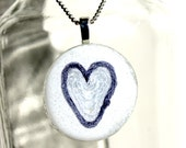Heart in Purple Yarn on Round Glass Pendant