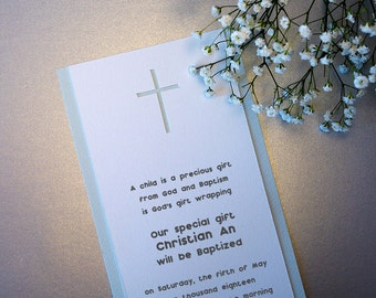 Baby Boy Baptism Invitation, Christ ening Invitation, Cross Sign ...