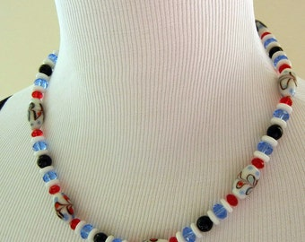 Summer Picnic Glass Necklace & Earring Set