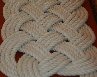 "29"" x 12"" Soft Bath Mat Off White Cotton Woven Knotted Rope Bathmat"