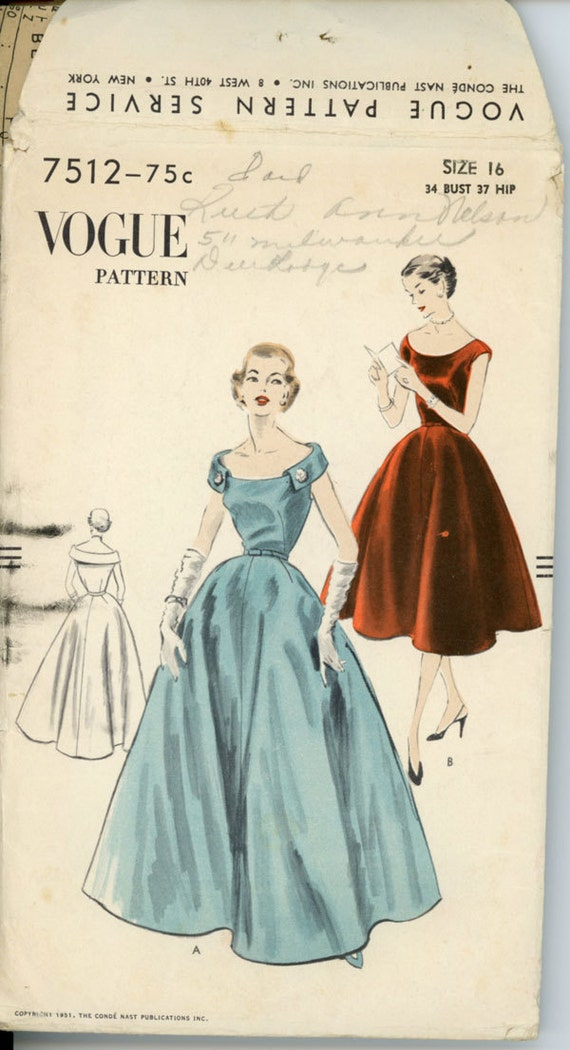 1950s Formal Evening Dress Pattern Vogue 7512 Bust 34 Womens Vintage Sewing Pattern Sleeveless with Standaway Collar