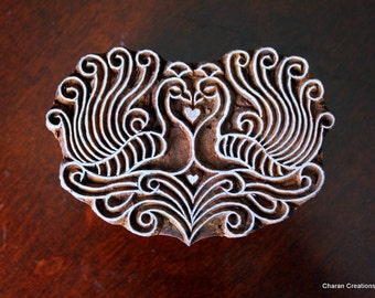 Hand Carved Indian Wood Textile Stamp Block- Stylized Peacock Pair