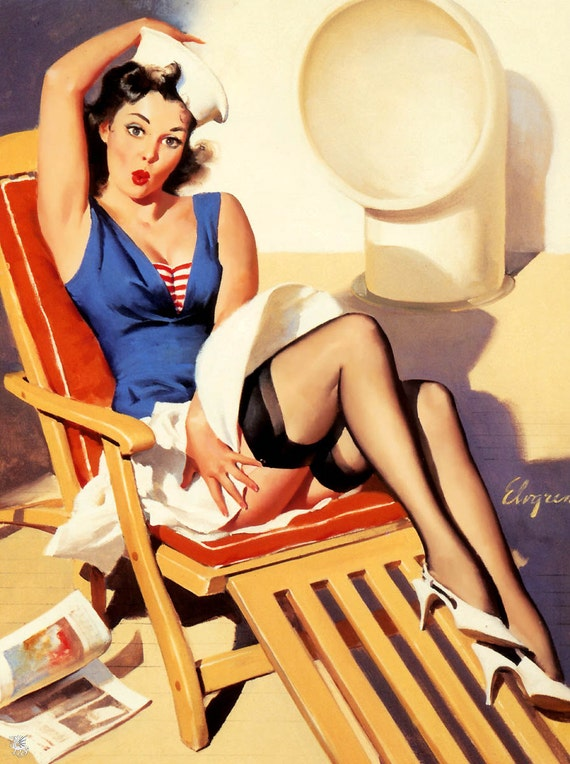 "Handprinted Cotton Art Reprodn Applique Vintage Sexy Pin-up Girl Gil Elvgren ""Skirt Ahoy "", 1967"