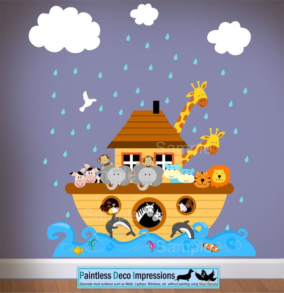 Items similar to children noahs ark wall nursery decal for Noah s ark decorations