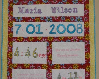 Quilt--Baby Information with Embroidered Name, Birthdate, Weight, Time