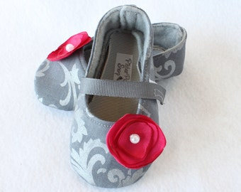 GREY DEMASK-Couture Magenta Flower, Mary Jane Baby Girl Booties, Soft Soled, Cloth, Fabric