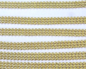 3 ft equal to 1m of Ball Bulk Chain Necklace Four Rows 6mm golden  Tone - 5954 Wholesale Chain