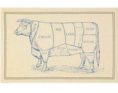 BEEF Butchers Cut Style Cotton DISH Tea Towel - Grill, BBQ, Western Dude Ranch, Home on the Range Gift