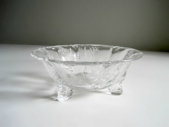 Vintage Heisey Orchid Etched Glass Bowl