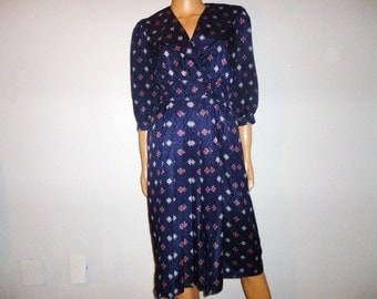 Vintage 70's - Pleated - Satin - Blue - Floral - Boho - Disco - Dress - bust 35""