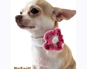 Pink Flower Handmade Crochet Dog Necklace Choker Collar Pet Apparel by Myknitt DN1 Free Shipping