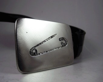 Safety Pin Belt Buckle - Etched Stainless Steel - Handmade