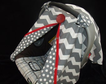 Carseat Canopy Chevron Red Facing REVERSABLE car seat canopy / car seat cover / carseat cover / nursing cover / infant carseat cover