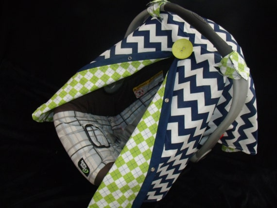 Baby Car seat Canopy FREE SHIPPING Code Navy Chevron carseat cover infant carseat canopy REVERSABLE