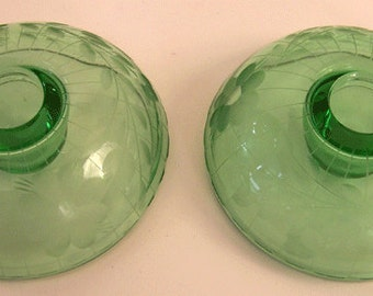 Set of Two Green Depression Glass Wheel Cut Candleholders