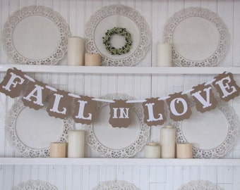 Fall in Love Banner, Wedding Sign, Wedding Decoration, Wedding Reception Decor, Country Wedding, Vintage Wedding