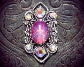 Amalthea Bindi, pink bindi, bellydance, forehead decoration, tribal fusion bindi, wiccan, wicca jewelry, pagan bindi, silver bindi, skin gem