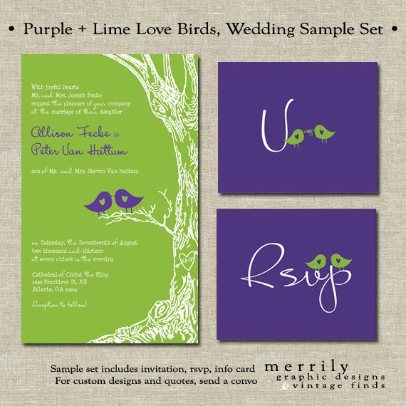 Purple and Lime Love Birds Wedding Invitation with Hand Drawn Tree and initials in the Heart - Sample Set