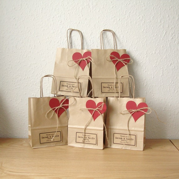 Wedding Paper Gift Bags: Wedding Favour Bags SMALL Gift Bags Brown Paper Gift Wrap