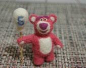 Teddy bear, Lotso, miniature, hogging bear, bear, felted, gift, cute, toy story