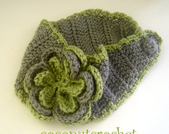 Gray and Green Ear Warmer Headband with Flower  Ready to Ship Mother's Day Gift Mom Earwarmer Holidays Gift