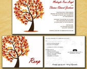 Fall Wedding Invitations - Autumn Wedding - Love Birds in a Tree - Custom Wedding Invites - Sample