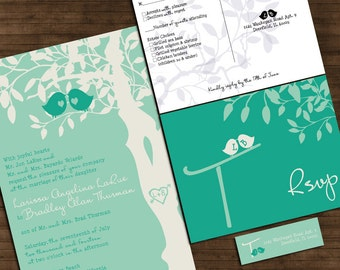 Custom Love Birdies Wedding Invitation Suite with RSVP postcards and address labels - Emerald Green Wedding