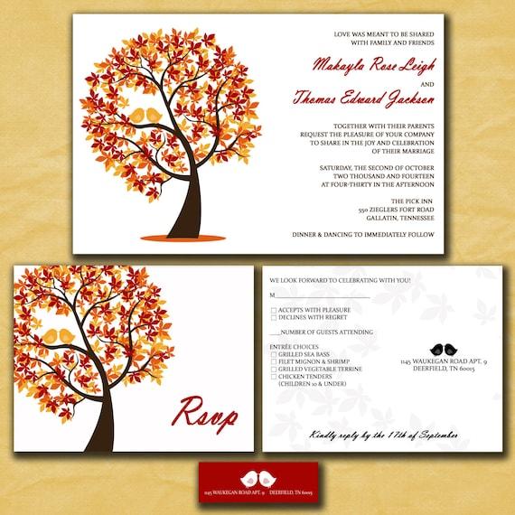 Fall wedding invitations autumn wedding love by for Etsy owl wedding invitations
