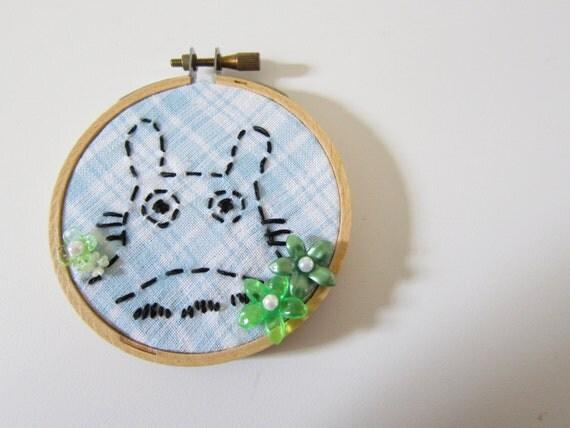"Totoro Bunny Embroidered 3"" hoop"