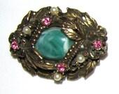 Vintage Layered Brass, Pink & Green Pin - FREE SHIPPING