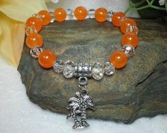 FREE SHIPPING! Orange Jade Gemstone Bracelet