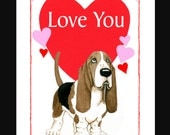 Basset Hound Valentine Card