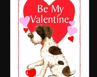 German Wirehaired Pointer Valentine Card