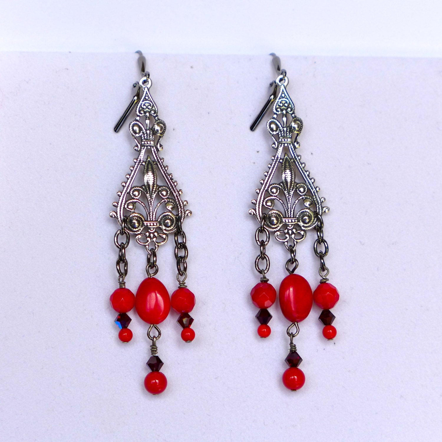 Red Coral Chandelier With 3 Lights: Victorian Antique Silver Red Coral Chandelier Earrings E950