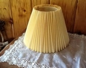 Vintage Lamp Shade Lovely Beige/Tan Pleated Fabric
